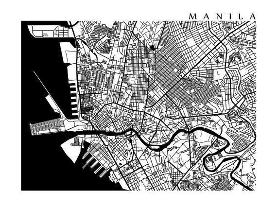 Manila map philippines art poster print black and white manila manila map philippines art poster print black by cartocreative publicscrutiny Images