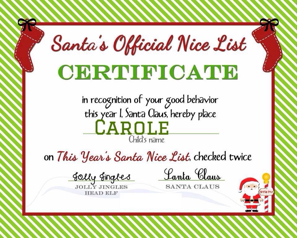 Carole pin from my friend debbie pins from friends a delicate gift free printable nice list certificate from the north pole spiritdancerdesigns Image collections