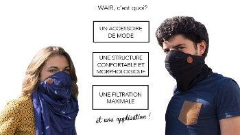 Foulard anti-pollution connecté WAIR, une solution efficace, confortable et esthétique contre la pollution de l'air.