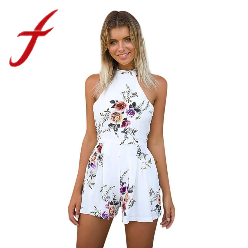 529495921f6 Feitong Summer Women Playsuit Ladies Sexy High Neck Floral Printed Mini  Playsuit Shorts Jumpsuit Macacao Feminino