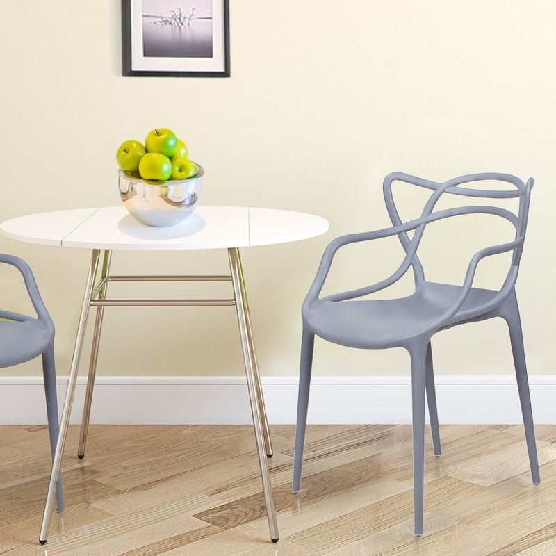 Furnistar Designer Abstract Stacking Dining Chairs Grey Set Of