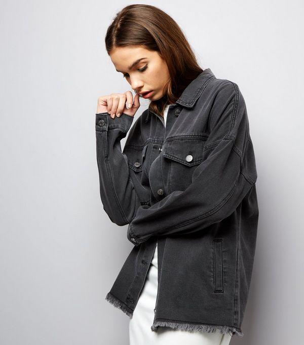 Noisy May Black Fray Hem Denim Jacket   Denim jackets, Coats and Black