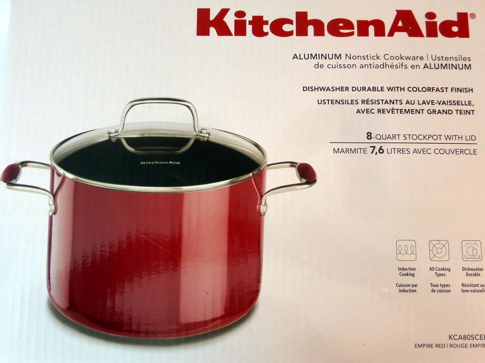 Kitchenaid aluminum non stick cookware 8 qt stock pot with