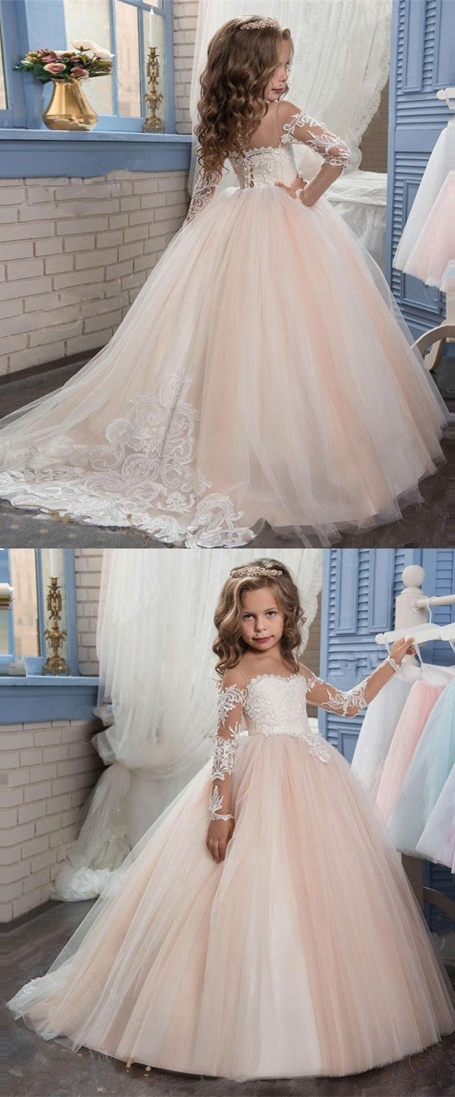 Ball gown round neck light champagne tulle flower girl dress with