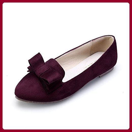 Smilun Damen Schuhe Ballerina Flats Ballerina Flach Ballett Ballerina Flats Metall Spitze Rot EU39 injyC