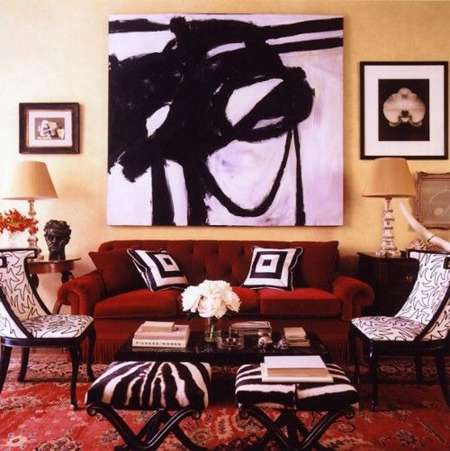 very eclectic living roomlove the zebra print and the painting