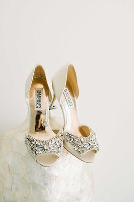 Bejeweled Champagne Colored Bridal Heels Badgley Mischka Shoes