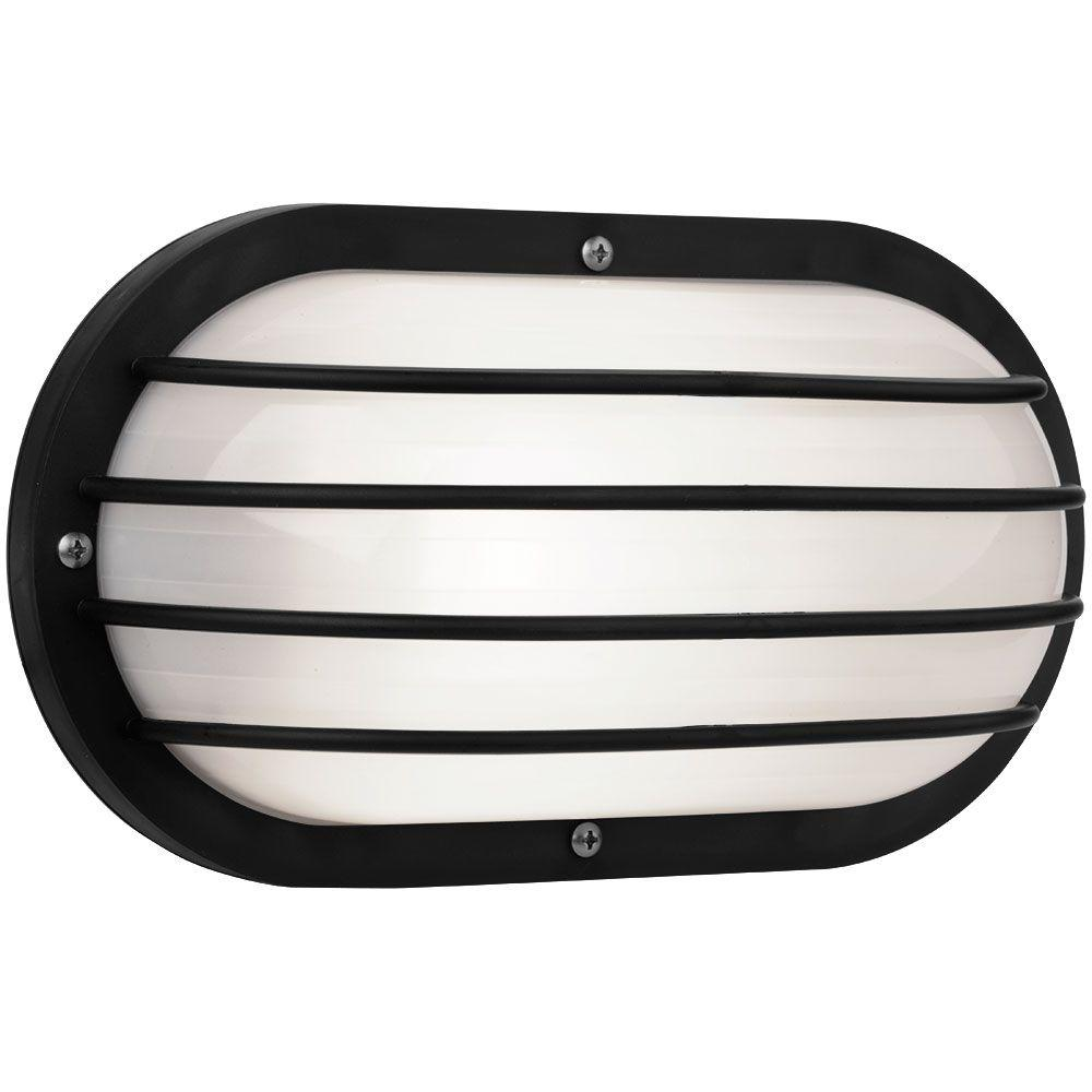 Newport Coastal Oval Nautical 10 In Black Outdoor Wall Mount Light With Grill 7971 01b The Ho Outdoor Wall Mounted Lighting Wall Mounted Light Outdoor Walls