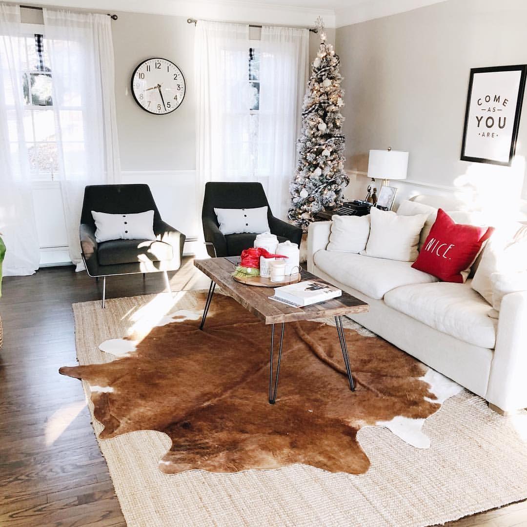 Modern Boho Living Room Cowhide Rug Ideas Mid Century Modern