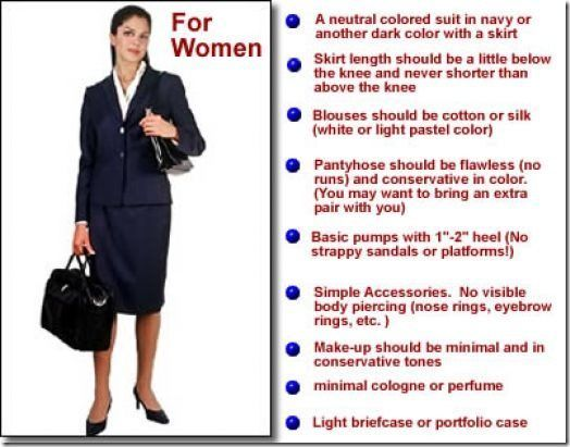 Business dress code pictures of women