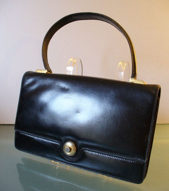 Vintage Black Leather Lederer Handbag Made In By Theoldbagonline