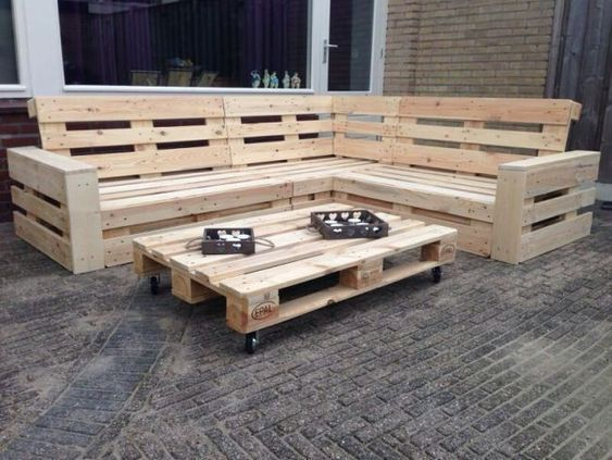 Making Shelves From Pallets Palletco How To Make A Dining Table Out Of Palle D In 2020 Pallet Furniture Outdoor Pallet Garden Furniture Pallet Furniture Designs