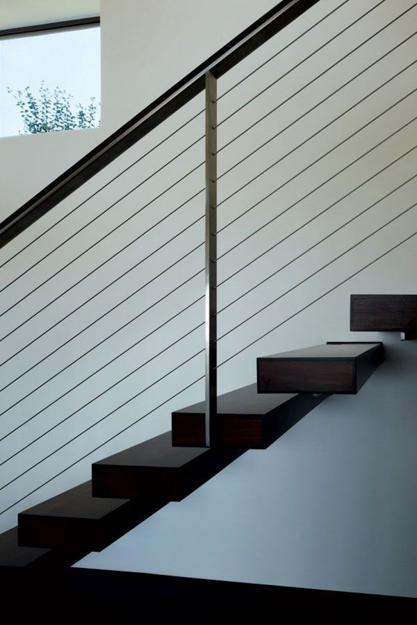 Modern Minimalist Style Indoor Staircase With Black Steps And Wire ...