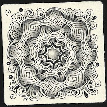 ⊰❁⊱ Mandala ⊰❁⊱ Tangles: Black Pearlz, Mi2.  by Certified Zentangle Teacher Margaret Bremner