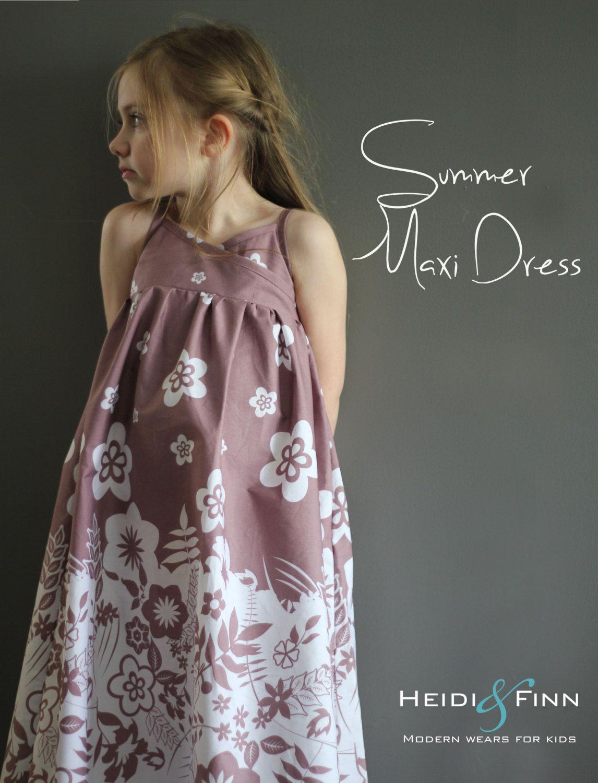 Summer Maxi Dress pattern and tutorial PDF 12m-5t  or 6y-12y easy sew long tank dress tunic. $6.95, via Etsy.