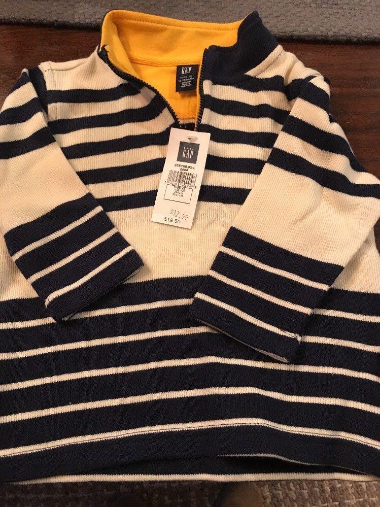 cba1d5918c52 NWT Baby Gap Boy Newborn Pullover Navy Blue Cream 1 4 ZIP 12-18 M ...