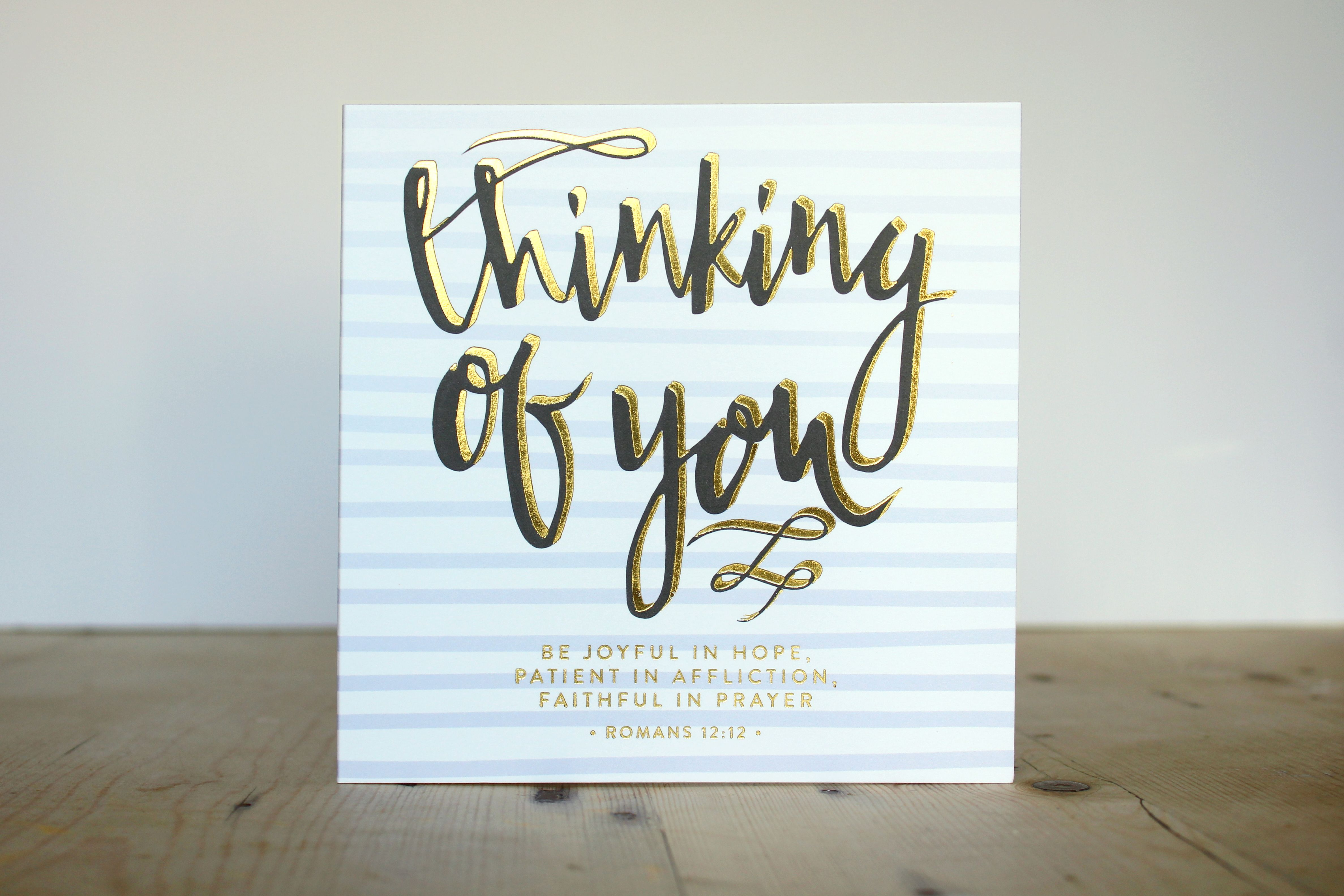 Thinking of you greetings card pinterest romans 12 12 and cards thinking of you gold foil bible verse greetings card romans 1212 m4hsunfo
