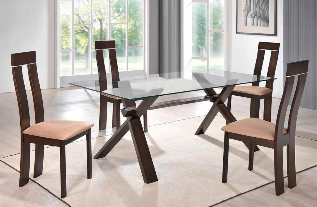 Sophisticated Rectangular In Wood Clear Glass Top Dining Set Furniture Modern Glass Dining Table Stylish Dining Room Walnut Dining Table