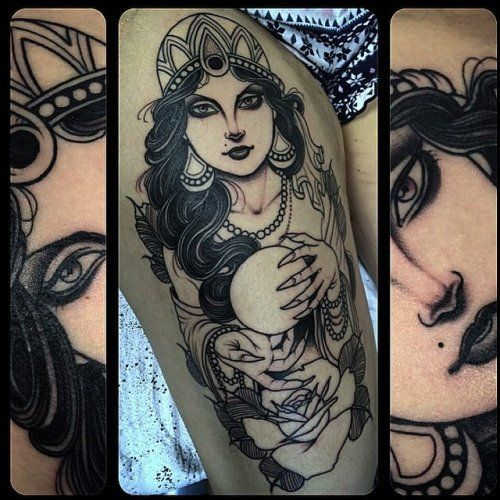 Fortune Teller Tattoo by Jean Le Roux (after 1st session)