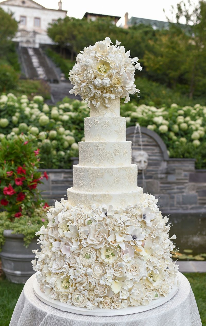 Elegant Wedding Cake with Damask Design & Sugar Flowers | Photography: Carasco Photography. Read More:  http://www.insideweddings.com/weddings/styled-shoot-combines-old-world-charm-and-contemporary-fashion/849/