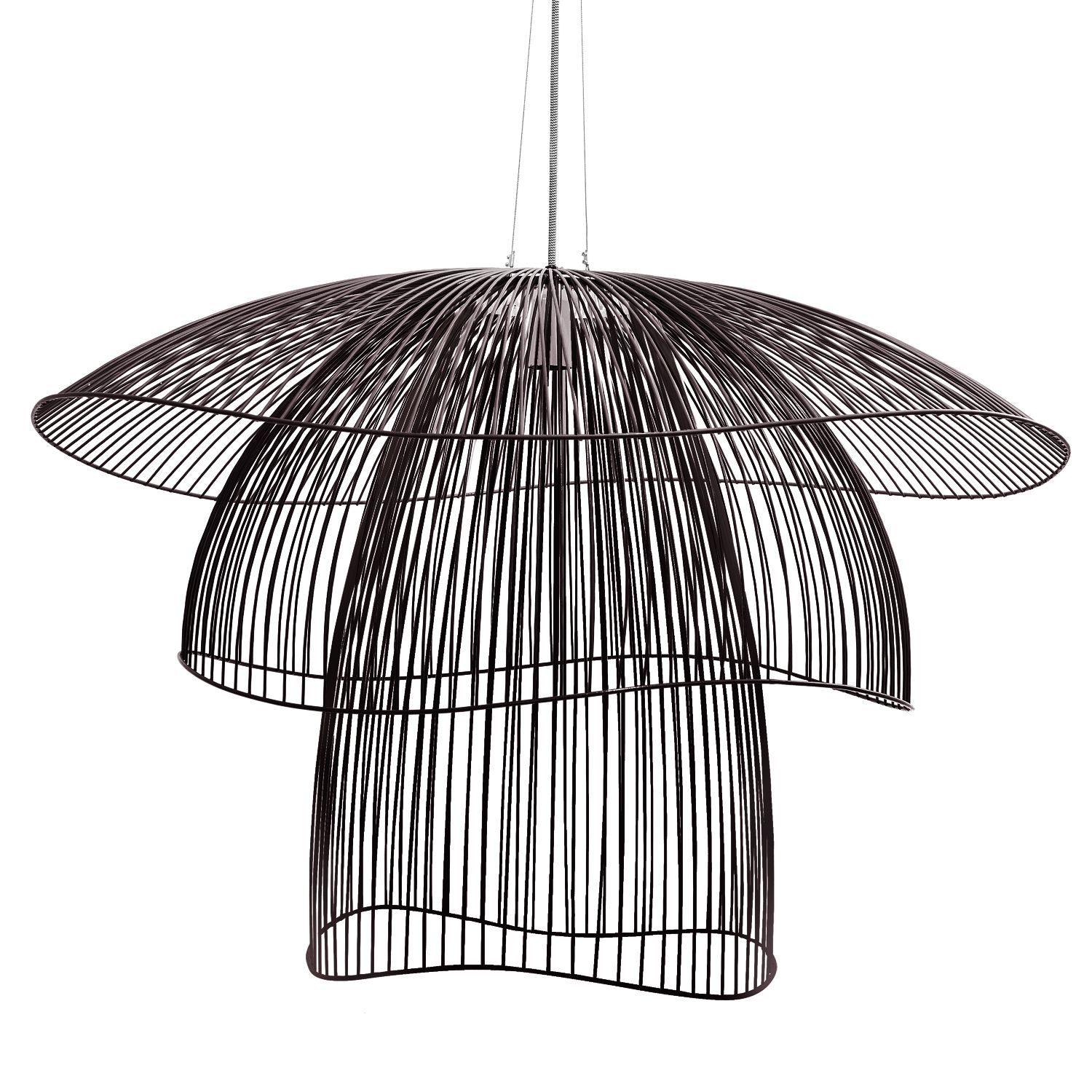suspension fil de fer noir 100cm papillon lights