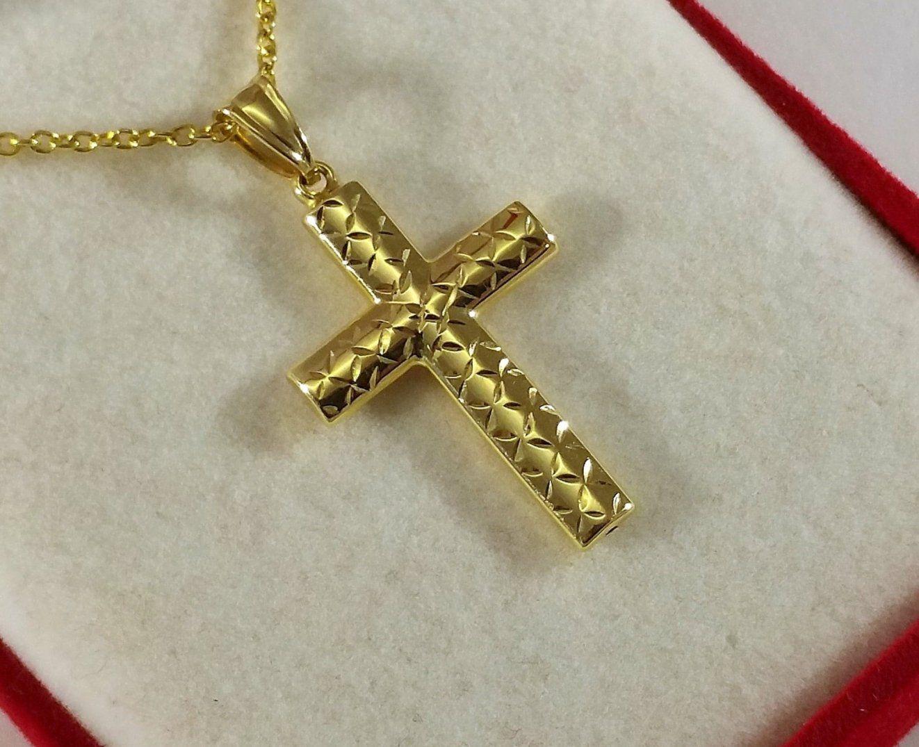 Pendant Cross Jesus Gold 585 Vintage Stainless Ga120 Gold