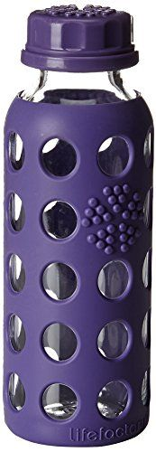Lifefactory 9ounce Bpafree Kids Glass Water Bottle With Flat Cap And Circle Patterned Silicone Sleeve Royal Purple Re With Images Glass Water Bottle Bottle Water Bottle