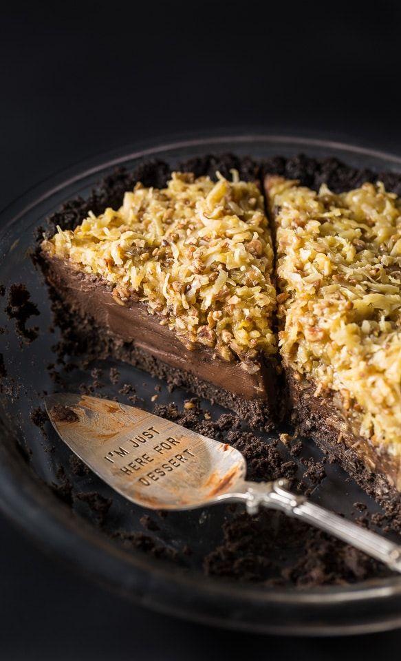 No-Bake German Chocolate Pie with Oreo Cookie Crus