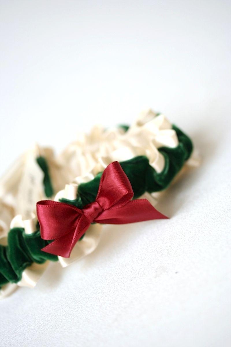 Red, Green Velvet and Ivory Garter | Wedding garters, Ivory and ...