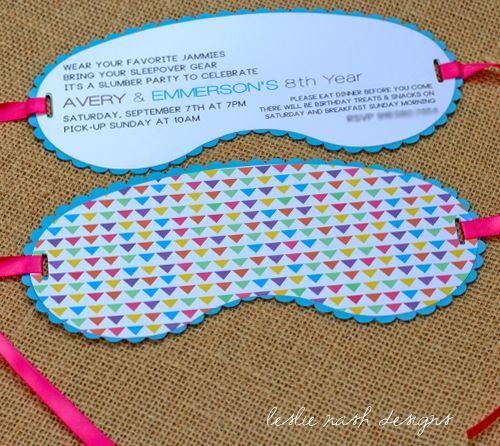 spa mask invitation template - slumber party sleep mask invitations leslie nash designs