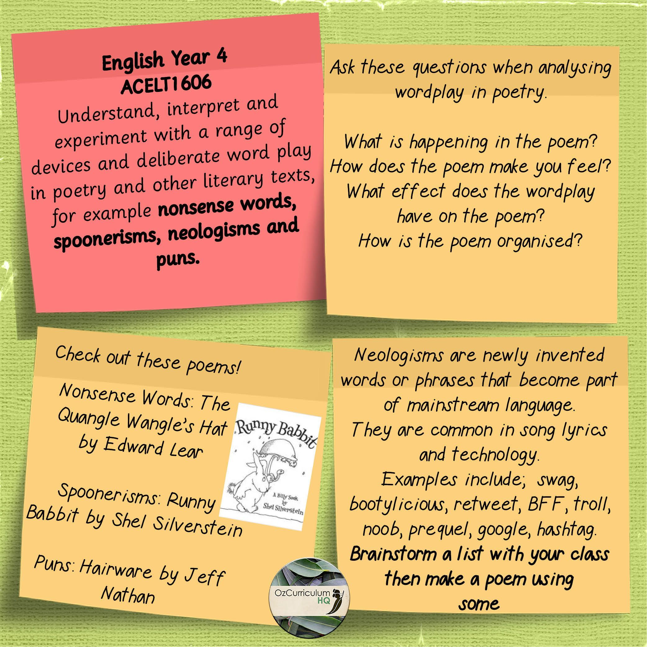 English Year 4 Acelt1606 Nonsense Words Spoonerisms Neologisms And Puns Nonsense Words Teaching Poetry Literary Te In 2021 Literary Text Nonsense Words Teaching Poetry
