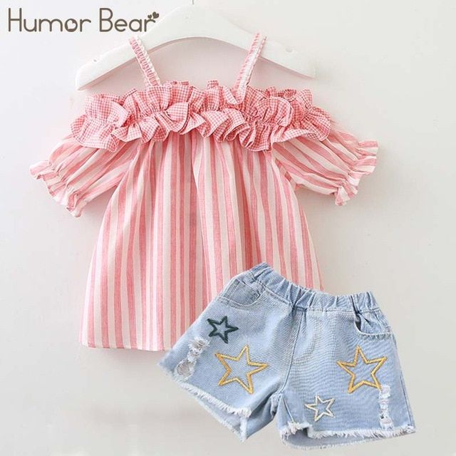 Summer Toddler Kid Baby Girl Clothes Strap Tops+Stripe Long Pants Outfits
