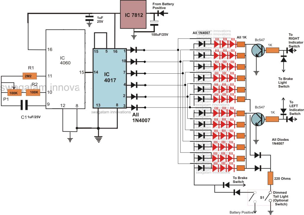 How to Make Car LED Chasing Tail Light, Brake Light Circuit