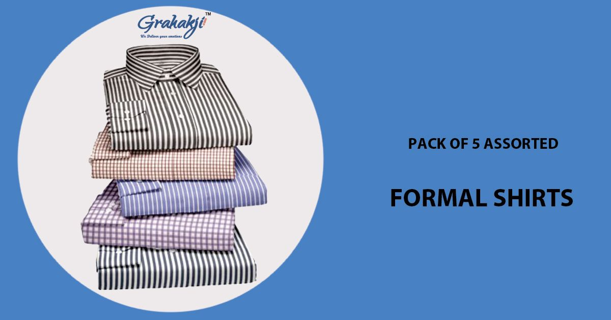 81d63421229 Buy Pack Of 5 Assorted Formal Shirts For Mens (stripes Checks) Online