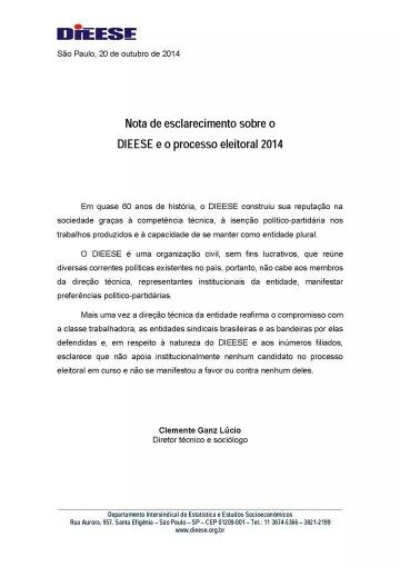 DIEESE - nota oficial (20.10.2014).