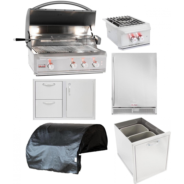 Blaze Professional 6 Piece 34 Inch Natural Gas Outdoor Kitchen Package Bbqguys In 2020 Outdoor Kitchen Kits Outdoor Kitchen Outdoor Kitchen Design