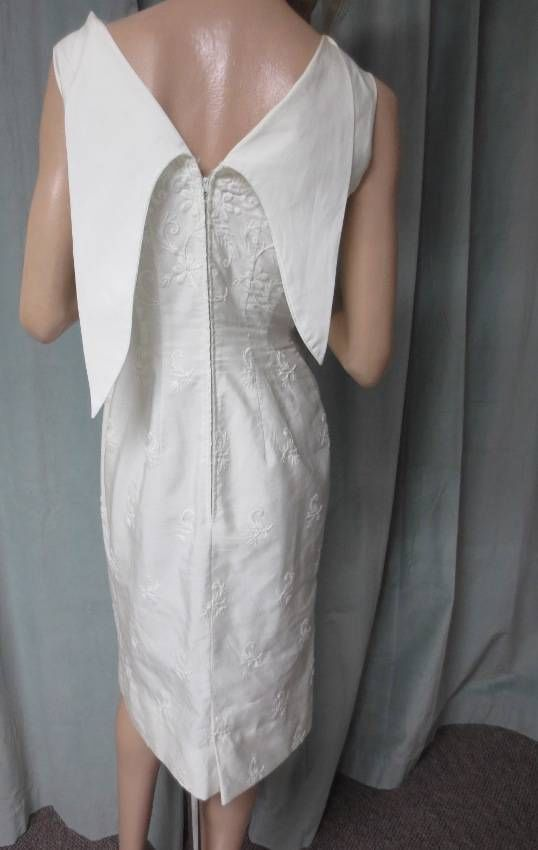 60's Vtg Sizzling Anne Fogarty Wiggle Dress Off White Embroidery Sexy Dramatic | eBay