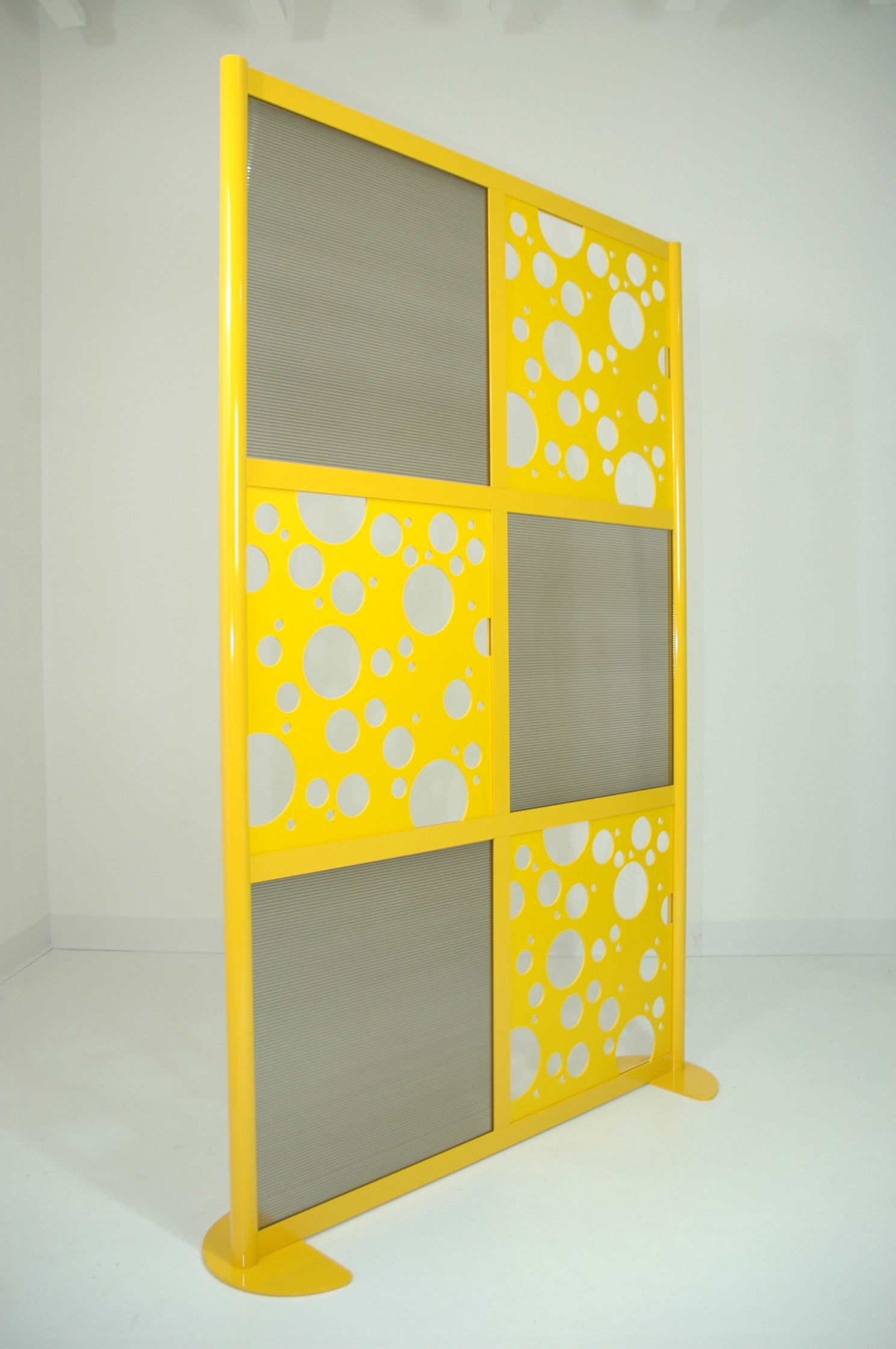 4\' Wall with Powder Coated Yellow Frame with Translucent & Custom ...