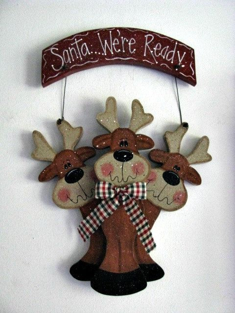 Santa were readysign wall decor door decoration by loisling, $18.00.  reindeer woodcraft for Christmas