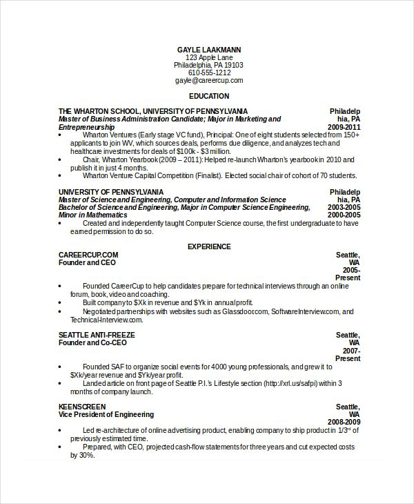 Computer Science Student Resume in Word , Computer Science Resume - cover page of resume