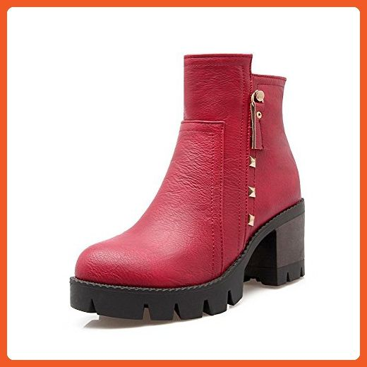 Women's Round Closed Toe Low-top Kitten-Heels Solid PU Boots with Jewels
