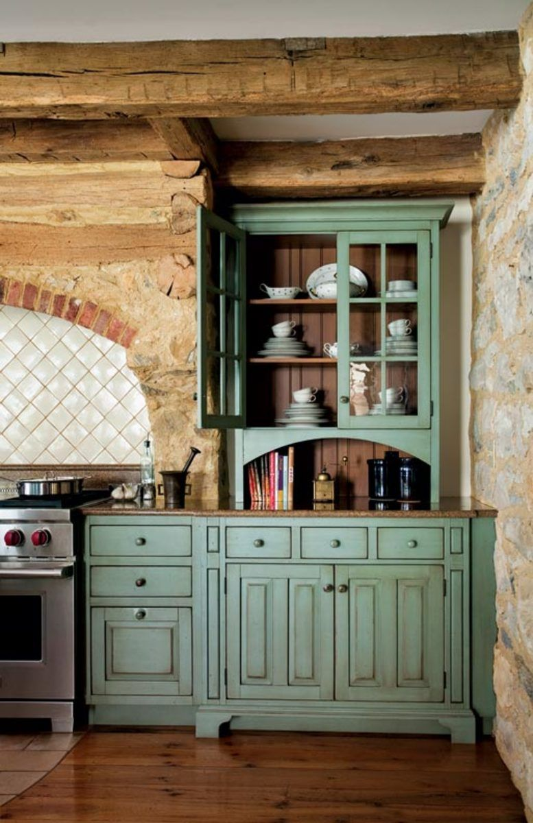 Primitive Colonial Inspired Kitchen Farmhouse Style Kitchen Cabinets Rustic Kitchen Cabinets Kitchen Cabinet Styles