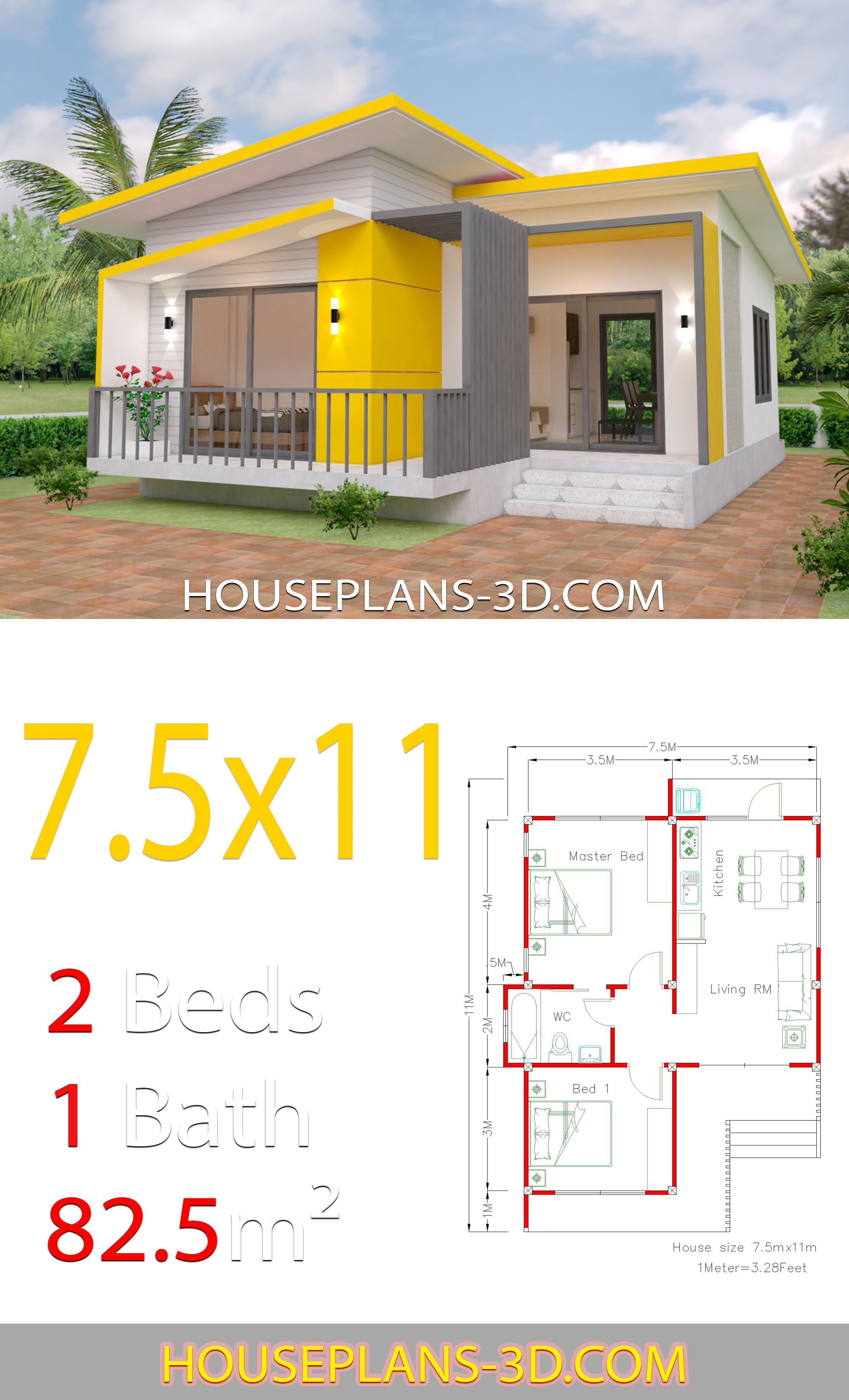 House Design 7 5x11 With 2 Bedrooms Full Plans Planos De Casas Sencillas Diseno Casas Pequenas Planos De Casas Economicas