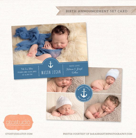 Birth Announcement Template Photo Collage   Navy Baby by OtoStudio