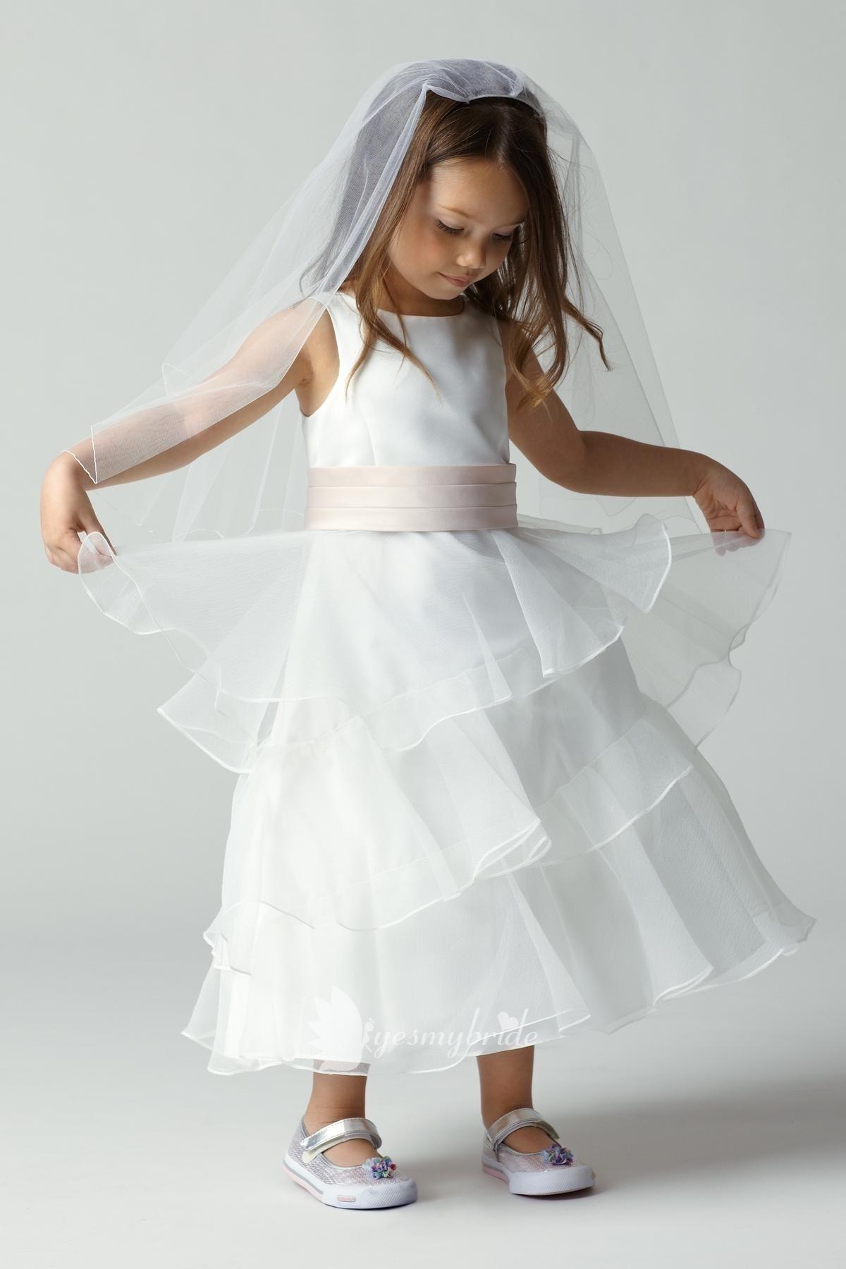 Diamond white satin sleeveless boat neck tiered flower girl dress