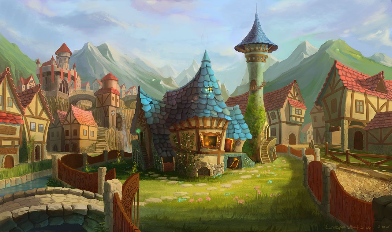 Picture 2d illustration fantasy architecture cartoon for Village town