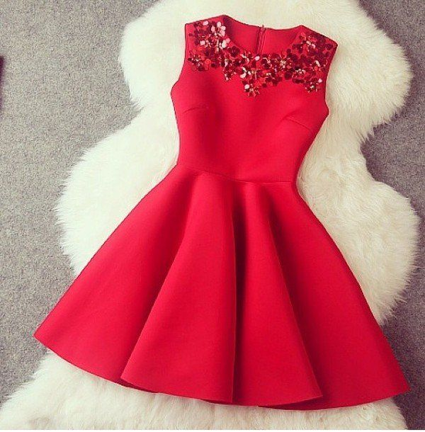 Image of Pretty Red Short Formal Dresses, Winter Formal Dresses, Red Women  Dresses