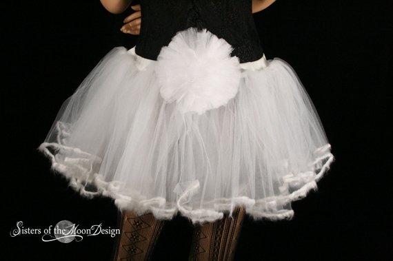 c6c05cabd Adult tutu skirt petticoat trimmed white rabbit costume extra poofy  carnival petticoat dance - Small