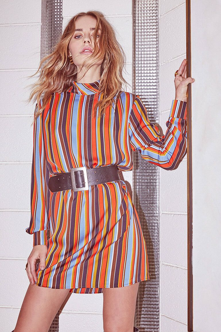 Vintage Style Gets Modern Spin In Fall Collection From Astr The Label Stripes Fashion Shift Dress 70s Inspired Outfits [ 1155 x 770 Pixel ]
