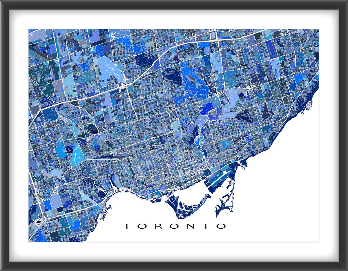 Toronto Map Print Featuring The Canadian City Of Toronto Ontario